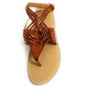 Brown cross strappy Sandals
